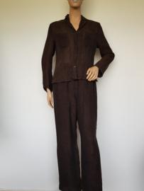 Set (blouse/broek) Claudia Sträter. Mt. 38. Bruin/linnen.