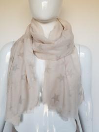 Rechthoekige shawl sterrenprint. Crème/zilver.