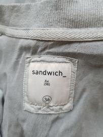 Sandwich bomberjack. Mt. 36. Grijs/groen.