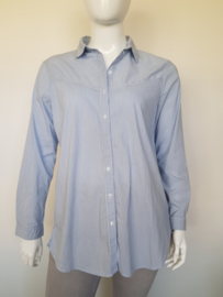 Blouse Expresso. Mt. 46. Blauw/gestreept.