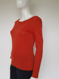 Marc O'Polo soft cotton top. Mt. M. Oranje/bruin.