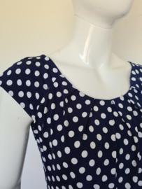 L'onkel jurk. Mt. 38. Blauw/wit/polkadots.