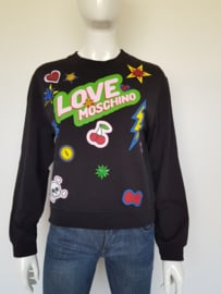 Love Moschino Sweater. Mt. 38. Zwart/print.