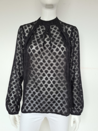 Yest blouse top. Mt. 38. Zwart/transparant.