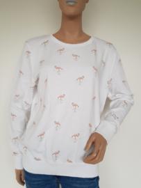 Sweater Yaya. Mt. XL. Wit/flamingoprint.
