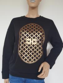 Sweater Elisabetta Franchi jeans. Mt. 46. Zwart/goud.