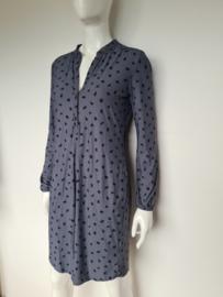 Sandwich blouse jurk. Mt. S. Grijs/zwart/print.