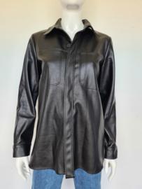 Joline Jolink Canvas shirt. Mt. S. Zwart/ leather look.