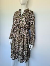 Nümph blouse jurk. Mt. 38. Groen/ lila /print.