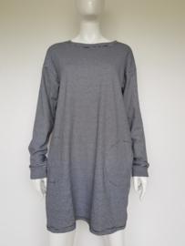 Basic Apparel jurk. Mt. L. Zwart/wit gestreept.