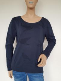 Sweater Yaya. Mt. XL. Blauw/vogelprint