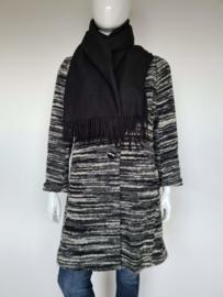 Rodier Paris shawl. Rechthoekig model. Zwart. Kasjmier.