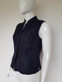 Tence mouwloze blouse. Mt. 44. Donkerblauw/linnen.