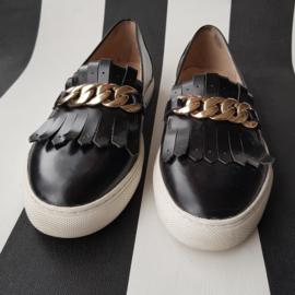 Loafers BPrivate. Mt. 38.Zwart/goud.