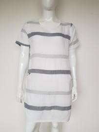 New Collection jurk. Mt. 42. Wit/grijs gestreept.