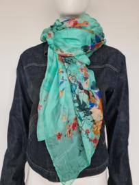 Zijden shawl. Mintgroen/bloemenprint.
