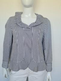 Frank Walder blouse. Mt. 46. Zwart/wit gestreept.