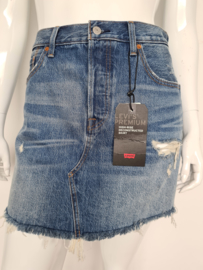 Levi's high-rise reconstructed skirt. Mt. 32. Blauw/ damaged.