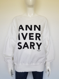 10DAYS Anniversary sweater. Mt. S/M. Wit/print.