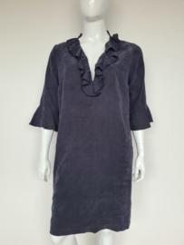 Summum jurk met roezels. Mt. 42. Blauw/grijs.