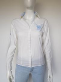 L'Argentina blouse. Mt. 38. Wit/lichtblauw.