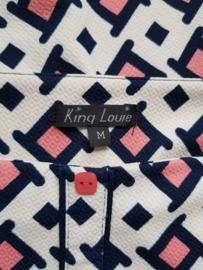Rok King Louie. Mt. M. Print Crème/roze/zwart.
