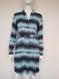 Sandwich jurk. Mt. 38. Blauwtinten.