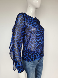 Lofty Manner top. Mt. S. Blauw/zwart/dierenprint.
