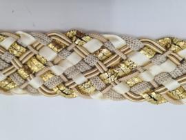 Goud/crème gevlochten riem. 95 cm.