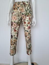 Cropped pantalon. Mt. 38. Crème/bloemenprint.