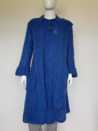 Handgemaakt blauw wollen vest. Mt. 40/42. Lang model.