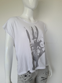 Selected Femme top. Mt. 40. Wit/print.