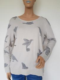 Sweater Yaya. Mt. L. Grijs/vogelprint.