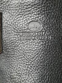 Fred de la Bretoniere riem. 90 cm. Zwart/leer.