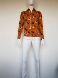 4FunkyFlavours blouse Buenos Aires. Mt. S. Mosterd geel/lama print.
