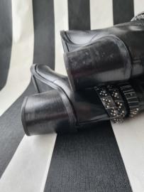 Kobra laarzen. Mt. 41. Zwart/leer.