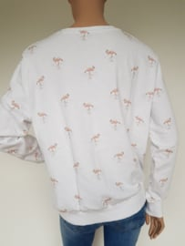 Sweater Yaya. Mt. XL. Wit/flamingoprint.