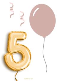 Kaart   A6   5 jaar!   roze