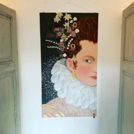 """Wanddoek """"Peeking Elisabeth"""" Mixed Media 80 x 120 cm"""