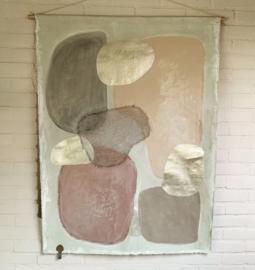 """Wanddoek """"Soft & Gold"""" mixed art 80 x 105 cm"""