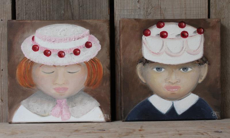 """""""Kersjes op de taart"""" 20 x 20 cm Olieverf op doek"""