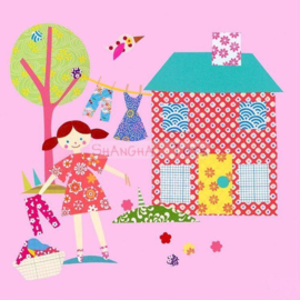 KK ( postcard a little girl with a little house )