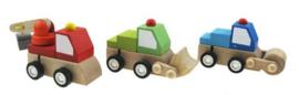 H 066 ( wooden wind up mini trucks ) ----- 9 pcs in display