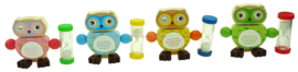 H 050 ( wooden owl toothbrush holder with sandglass ) ----- 8 pcs in display