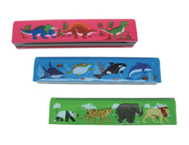 H 009 ( wooden harmonica dino, ocean life and safari )