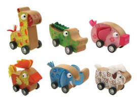 H 071 ( wooden animals pull back ) ----- 6 pcs in display