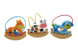 H 008 ( wooden rocking bead frame cow, dog and horse )  ----- 6 pcs in display