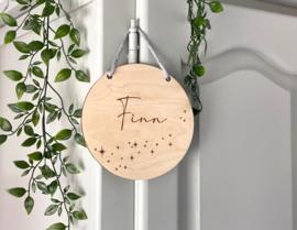 Naambordje van hout | Sterren