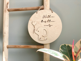 Welkom lief klein ventje | bordje hout