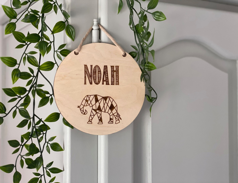 Naambordje van hout | Geometrisch